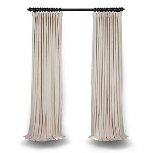 Ivory Double Wide 84 x 100 In. Velvet Blackout Pole Pocket Single Panel Curtain