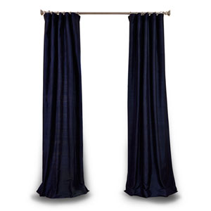 Navy 84 x 50 In. Textured Dupioni Silk Single Curtain Panel