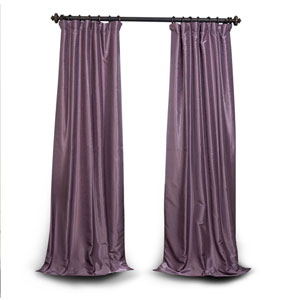 Smokey Plum 108 x 50 In. Blackout Vintage Textured Faux Dupioni Silk Curtain
