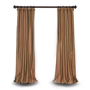 Gold 120 x 50 In. Blackout Faux Silk Taffeta Curtain Single Panel