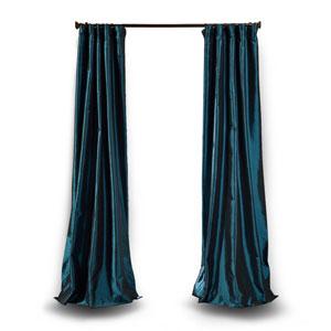 Dark Blue 84 x 50 In. Faux Silk Taffeta Single Curtain Panel