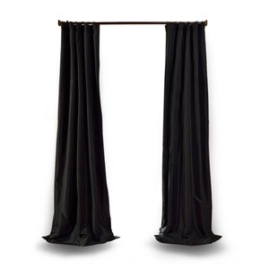 Jet Black 84 x 50 In. Faux Silk Taffeta Single Curtain Panel