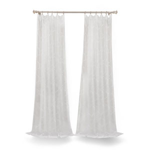 White 120 x 50 In. Sheer Single Curtain Panel