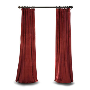 Burgundy Blackout 108 x 50 In. Velvet Single Curtain Panel