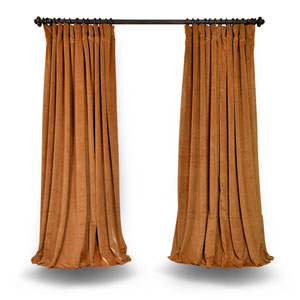 Gold Double Wide 100 x 96 In. Velvet Blackout Single Curtain Panel