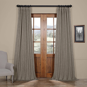 Grey Mink 120 x 50-Inch Faux Linen Blackout Curtain Single Panel