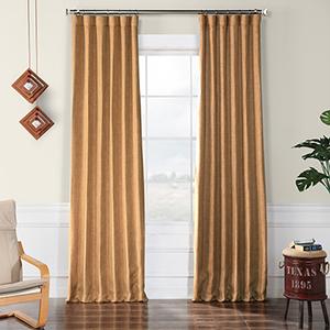 Faux Linen Blackout  Butterscotch 96 x 50-Inch Curtain Single Panel