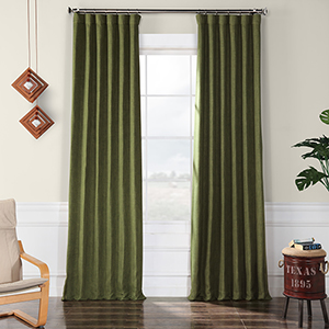 Faux Linen Blackout  Tuscany Green 96 x 50-Inch Curtain Single Panel