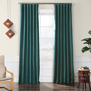 Faux Linen Blackout  Slate Teal 96 x 50-Inch Curtain Single Panel