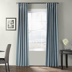 Bark Weave Rod Pocket Dusky Blue 50 x 120-Inch Curtain Single Panel
