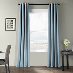 Bark Weave Grommet Dusky Blue 50 x 84-Inch Curtain Single Panel