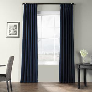 Bark Weave Rod Pocket Elegant Navy 50 x 84-Inch Curtain Single Panel