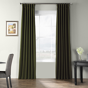 Bark Weave Rod Pocket Green 50 x 120-Inch Curtain Single Panel