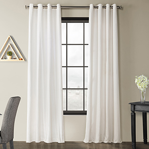 Solid Country Cotton Grommet White 50 x 84-Inch Curtain Single Panel