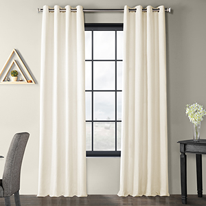 Solid Country Cotton Grommet Ivory 50 x 120-Inch Curtain Single Panel