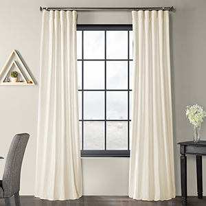 Solid Country Cotton Rod Pocket Ivory 50 x 120-Inch Curtain Single Panel
