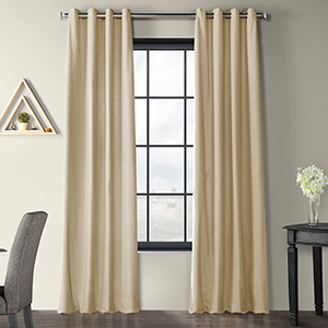Solid Country Cotton Grommet kilim Beige 50 x 96-Inch Curtain Single Panel