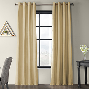Solid Country Cotton Grommet Camel Beige 50 x 84-Inch Curtain Single Panel