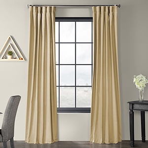 Solid Country Cotton Rod Pocket Camel Beige 50 x 96-Inch Curtain Single Panel