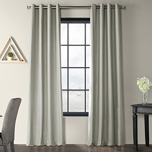 Solid Country Cotton Grommet Shark Gray 50 x 96-Inch Curtain Single Panel