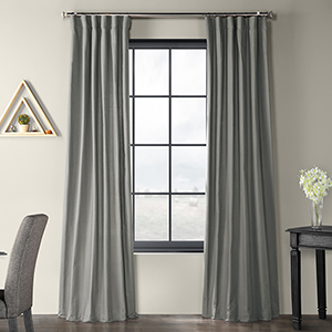 Solid Country Cotton Rod Pocket Shadow Gray 50 x 120-Inch Curtain Single Panel