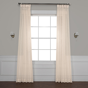 Cotton Seed 96 x 50-Inch Solid Faux Linen Sheer Curtain Single Panel