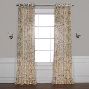 Xenia Tan 120 x 50 In. Grommet Printed Sheer Curtain Single Panel