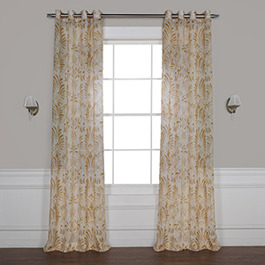Xenia Tan 108 x 50 In. Grommet Printed Sheer Curtain Single Panel