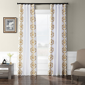 Embroidered Faux Silk Rod Pocket Anastasia Gold 50 x 108-Inch Curtain Single Panel