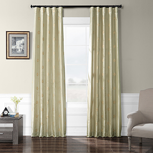 Embroidered Faux Silk Rod Pocket Trophy Silver Taupe 50 x 84-Inch Curtain Single Panel