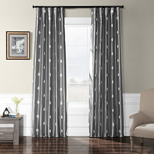 Embroidered Faux Silk Rod Pocket Trophy Platinum 50 x 96-Inch Curtain Single Panel