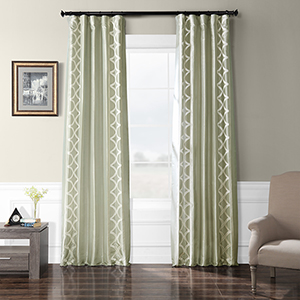 Embroidered Faux Silk Rod Pocket Gray 50 x 96-Inch Curtain Single Panel