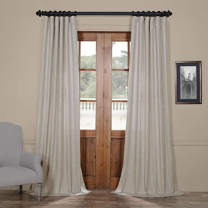 Fog Grey Heavy Faux Linen 96 x 50 In. Curtain Single Panel