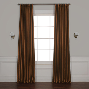 Copper Kettle 120 x 50-Inch Blackout Vintage Textured Faux Silk Curtain Single Panel