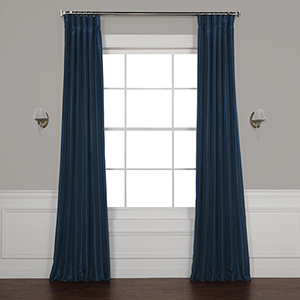 Captain Blue Vintage Textured Faux Dupioni Silk Curtain - SAMPLE SWATCH ONLY