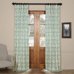 Aqua 120 x 50 In. Printed Cotton Curtain