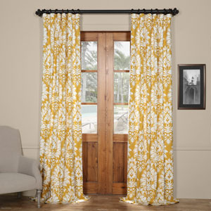 Sun Yellow 84  x 50 In. Printed Cotton Curtain
