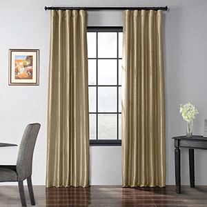 Blackout Faux Silk Taffeta Rod Pocket Tan 50 x 120-Inch Curtain Single Panel