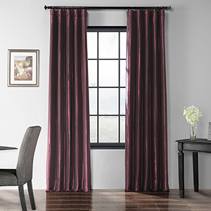 Blackout Faux Silk Taffeta Rod Pocket Purple 50 x 84-Inch Curtain Single Panel