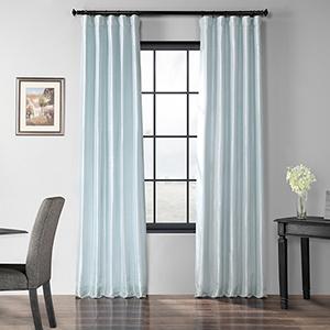 Blackout Faux Silk Taffeta Rod Pocket Blue 50 x 84-Inch Curtain Single Panel