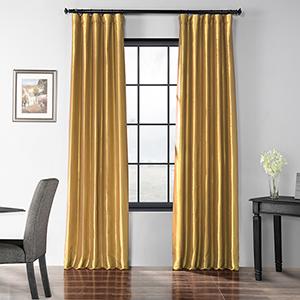 Blackout Faux Silk Taffeta Rod Pocket Gold 50 x 96-Inch Curtain Single Panel