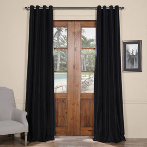 Black Grommet Blackout 120 x 50 In. Faux Silk Taffeta Curtain