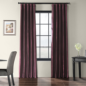 Faux Silk Taffeta Rod Pocket Purple 50 x 108-Inch Curtain Single Panel
