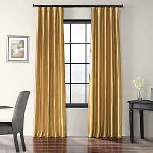 Faux Silk Taffeta Rod Pocket Gold 50 x 120-Inch Curtain Single Panel