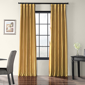 Faux Silk Taffeta Rod Pocket Gold 50 x 96-Inch Curtain Single Panel