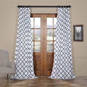 Diamond Onyx 108 x 50 In. Flocked Faux Silk Curtain Single Panel
