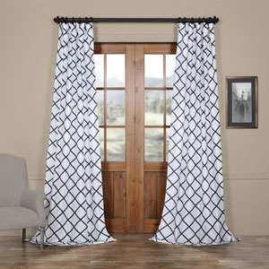 Diamond Onyx 120 x 50 In. Flocked Faux Silk Curtain Single Panel