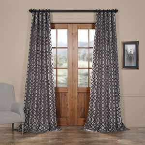Busy Trellis Silver and Pewter 96 x 50 In. Flocked Faux Silk Curtain Single Panel