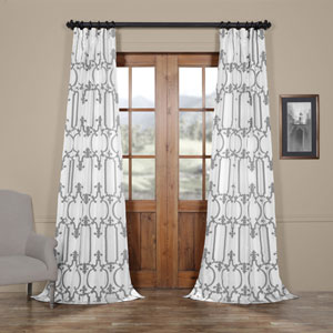 Royal Gate Buff and Silver 84 x 50 In. Flocked Faux Silk Curtain Single Panel