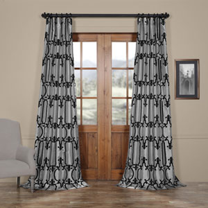 Royal Gate Silver and Black 120 x 50 In. Flocked Faux Silk Curtain Single Panel